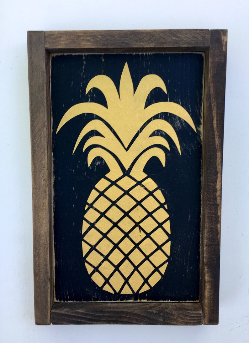 Pineapple Wood Sign Summer Decor Kitchen Decor Welcome Gift image 0