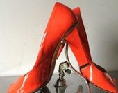 Vintage Jimmy Choo Orange Patent Leather Shoe