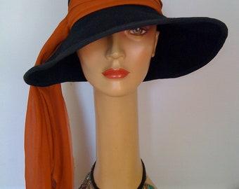 f9dfe33fc80 1970 s Vintage Hippie Wide Brim Black Felt Hat  Janis Joplin Hippie Hat
