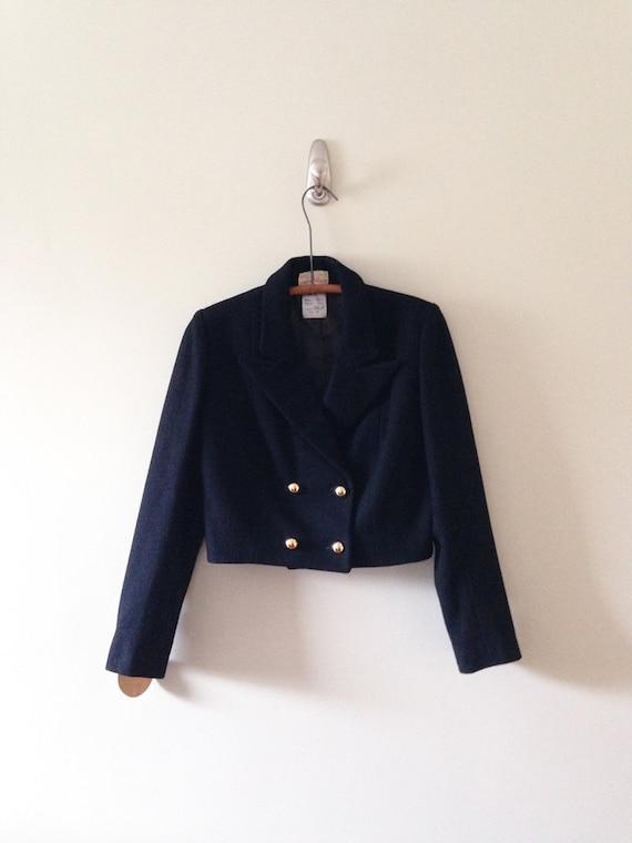 Women's Black Wool Vintage Bolero Jacket / Vintage