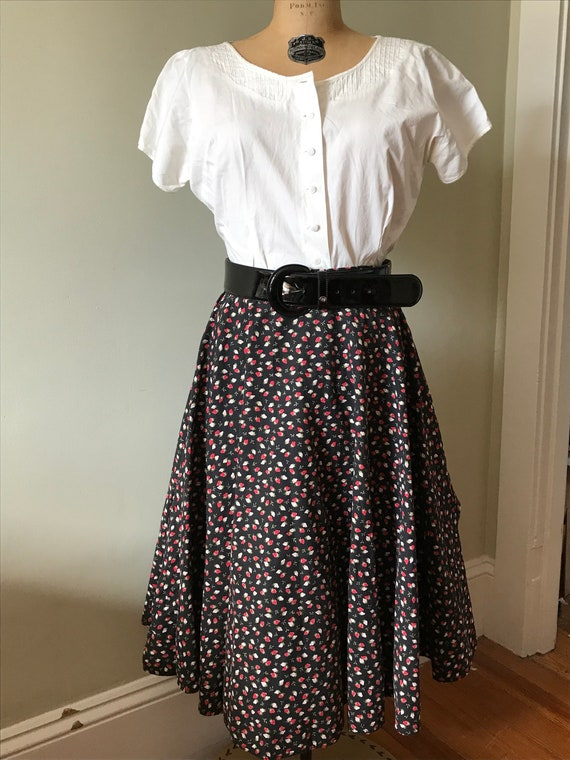 Vintage Strawberry Skirt / Cotton Strawberry Full… - image 1
