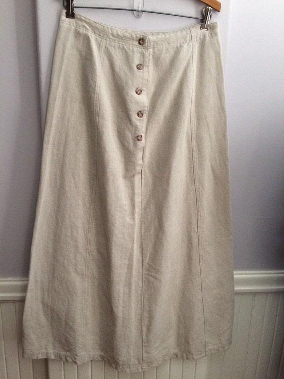 Laura Ashley Natural Flax Linen Skirt /   Gored Fl