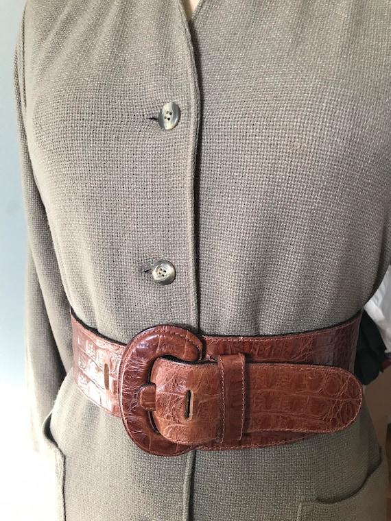 Vintage Accessories/ Wide Faux Alligator Belt / 19