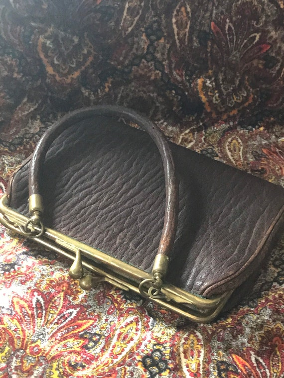 Antique Leather Wristlet Handbag/ Victorian Wristl