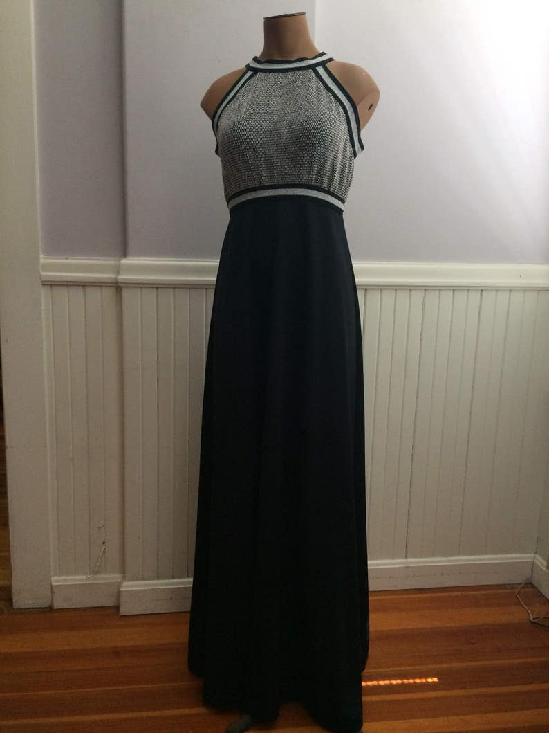 1970/'s Silver and Black Polyester Evening Halter Dress  Empire Waist   Polyester Maxi Dress  70/'s Prom Dress  Theater Cost