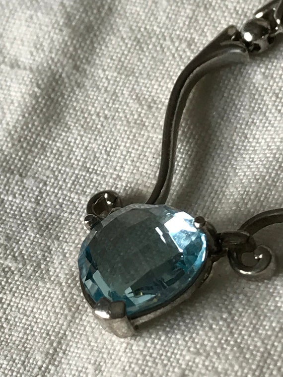 Vintage Jewelry / Aquamarine Heart Necklace / Ster