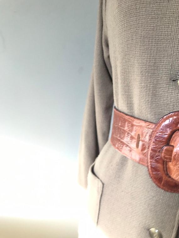 Vintage Accessories/ Wide Faux Alligator Belt / 1… - image 7