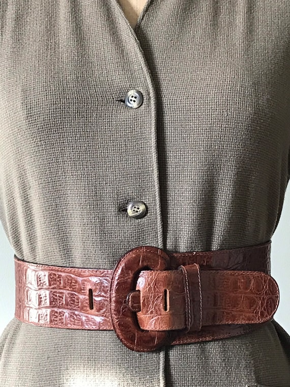 Vintage Accessories/ Wide Faux Alligator Belt / 1… - image 6