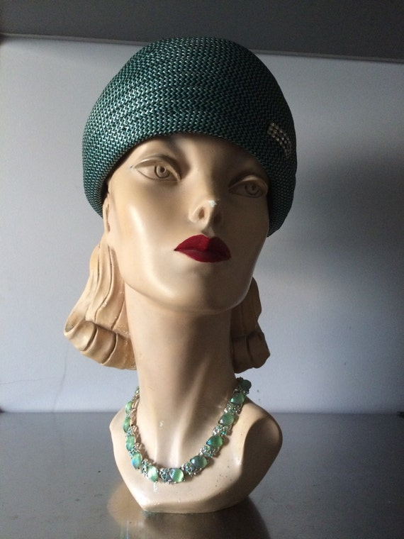 Vintage Milan Straw Pillbox Hat / ' Jackie O'  Sty