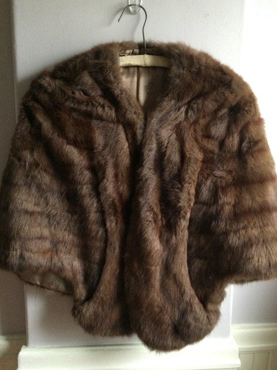Womens Fur Shawl - Shrug  / Vintage Sable Fur Stol