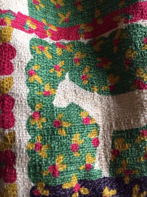 Vintage Barkcloth Bag/ Barkcloth Purse