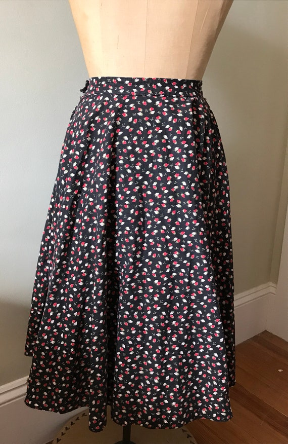 Vintage Strawberry Skirt / Cotton Strawberry Full… - image 7