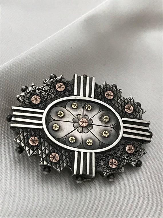 Antique Georgian Brooch-Pendant / Sterling & Gold