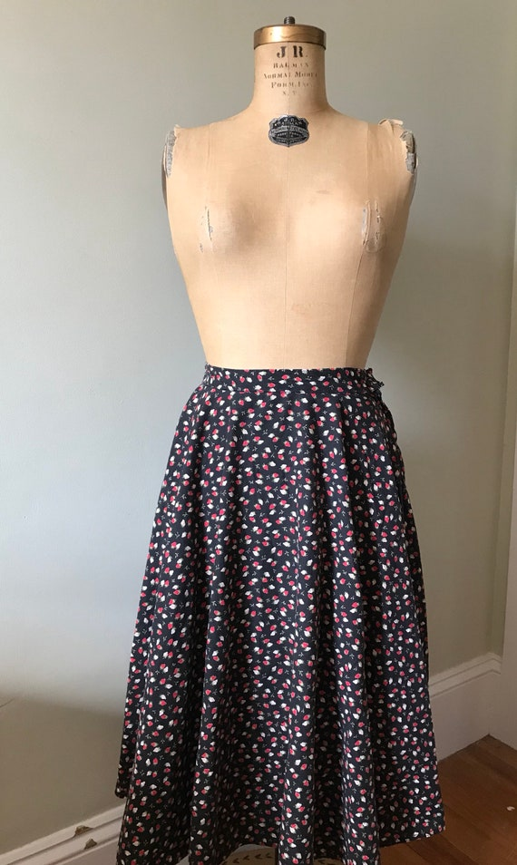 Vintage Strawberry Skirt / Cotton Strawberry Full… - image 3