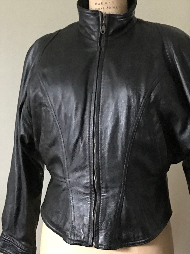 858a5ef8d Women's Black Leather Motorcycle Jacket / Wilsons Leather Jacket / Circa  1980's Women's Leather Jacket