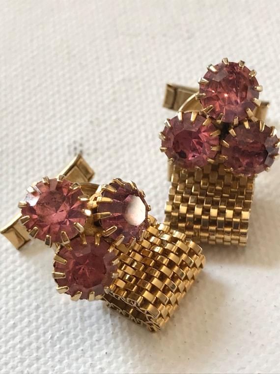 Vintage Cufflinks / Circa 1950's-60's Pink Rhinest