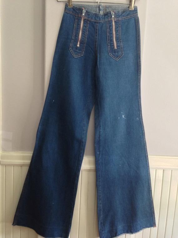 1970'S French Bell Bottom Jeans / Vintage Denim Be