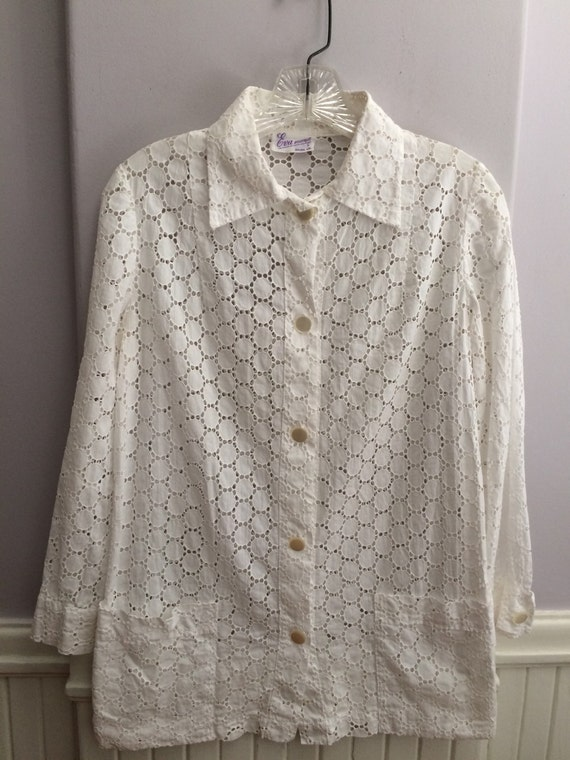 1970's Cotton Eyelet Blouse / 70's Cotton Eyelet B