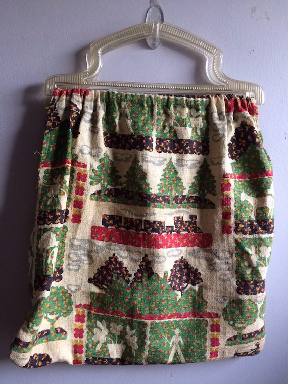 Vintage Barkcloth Bag/ Barkcloth Purse - image 3