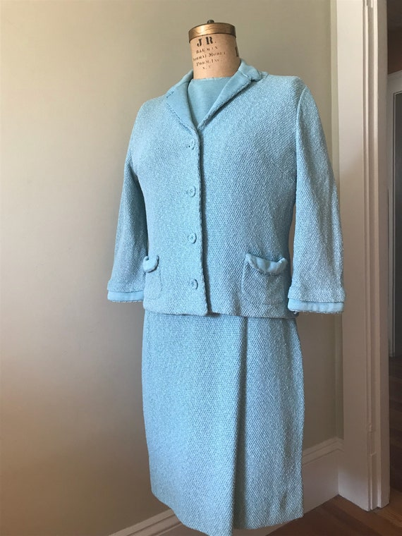 Women's Vintage 3Pc. Knit Suits / 1950's-60's Turq