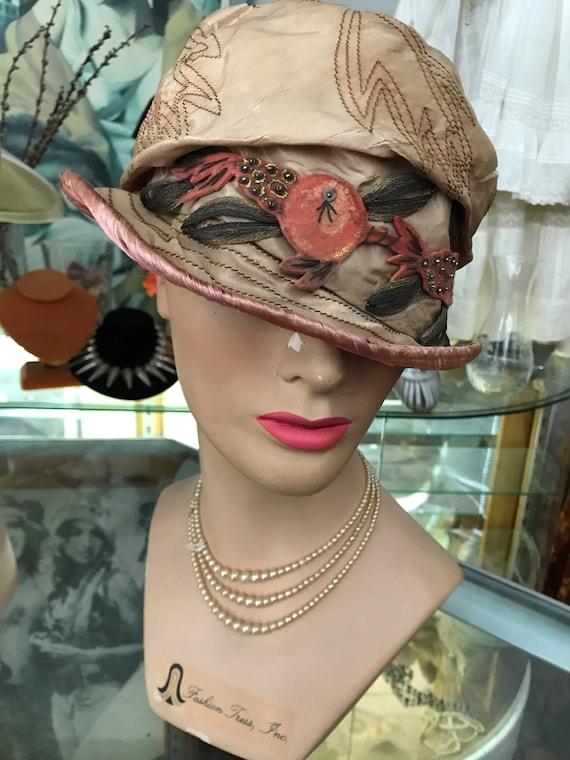 1920's Silk Cloche Hat / Vintage 1929's Cloche / M