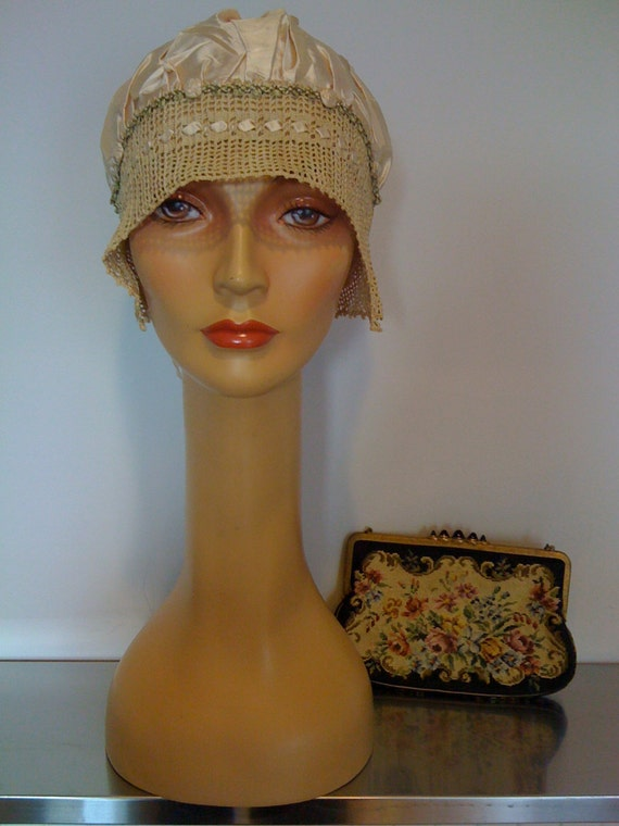 Antique Sleep Bonnet /  Silk Satin Sleeping Bonnet
