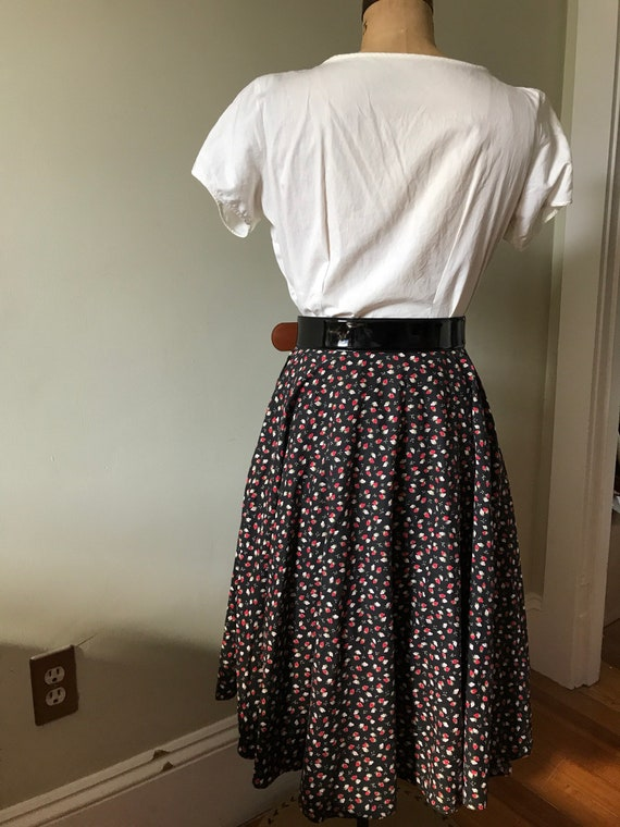 Vintage Strawberry Skirt / Cotton Strawberry Full… - image 2