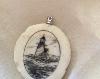 Vintage Lighthouse Scrimshaw / Signed Lighthouse Scrimshaw / Collectible Art