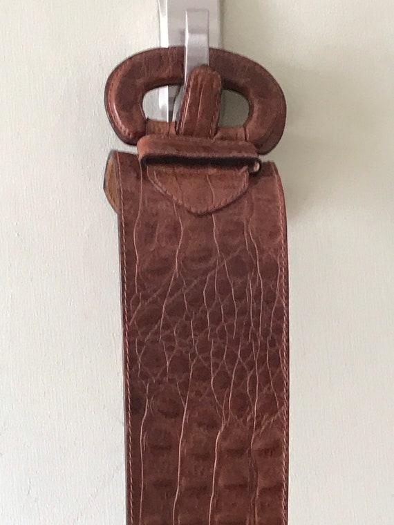 Vintage Accessories/ Wide Faux Alligator Belt / 1… - image 5