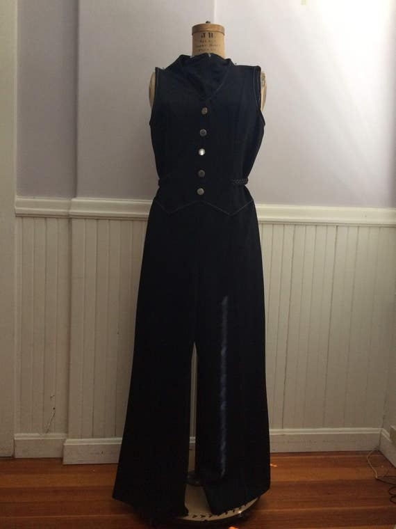 Women's Vintage Clothing / 1970's Black Polyester