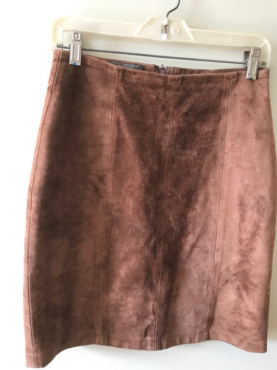 Women's Suede Mini Skirt / 1960's-70's Taupe Brown