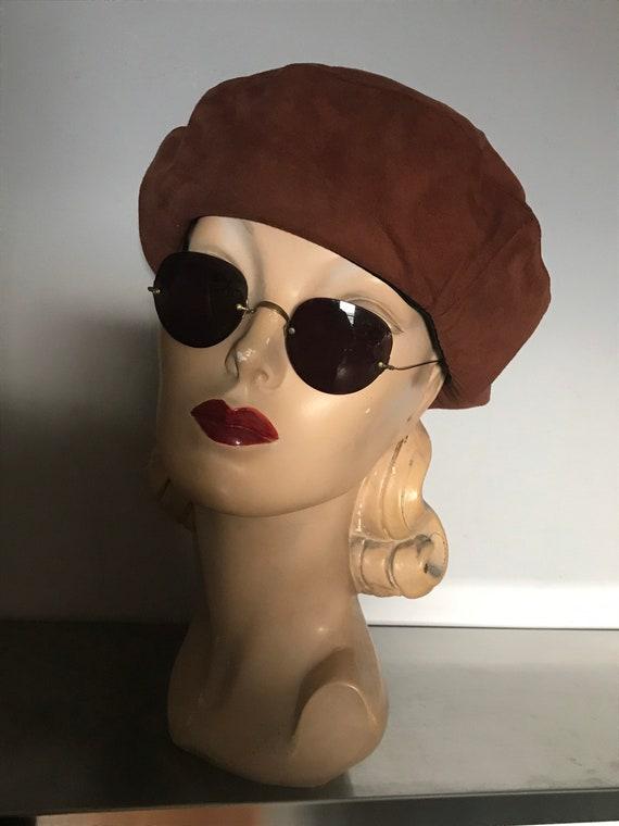 Women's Accessories/ Suede Beret / Vintage Suede B