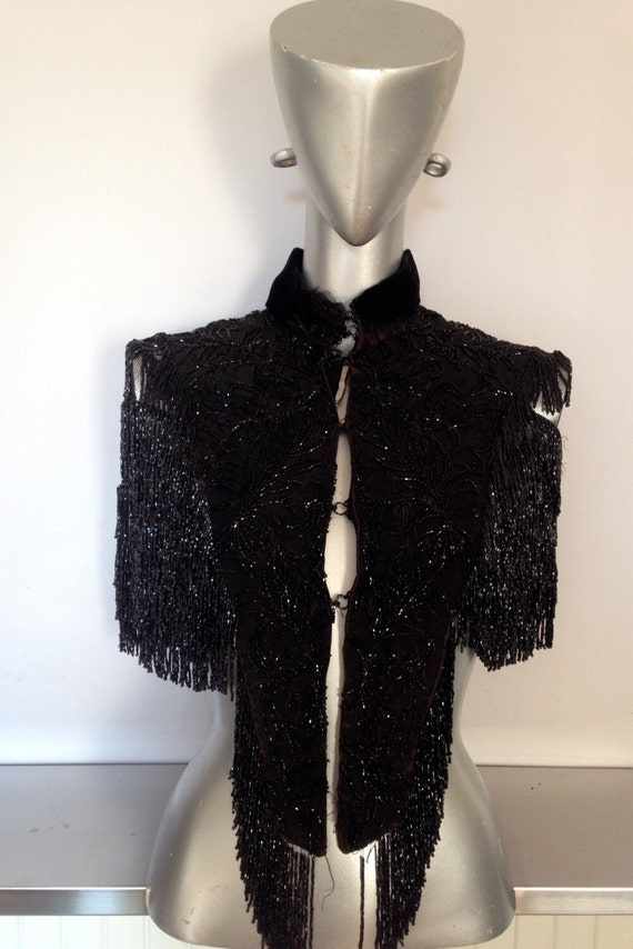 Victorian Beaded Capelet / Black Beaded Victorian… - image 1