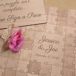 100-150 pcs Wedding Guest Book Puzzle Custom Puzzle Heart Tabs)