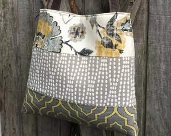 Handbag in Yellow and Grey Floral