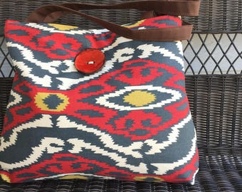 Handbag Tote in Red and Blue Southwest Print and Glazed Red Button