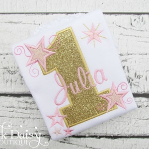 Lt Pink Personalized Applique Birthday Number with STARS /& SWIRLS and NAME Shirt or Bodysuit Metallic Gold Glitter Twinkle Twinkle 1st