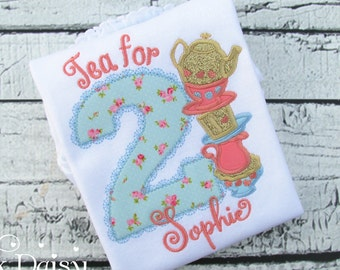 Tea for TWO Birthday Shirt  - Tea Party - Blue Coral Gold - Teacups - Mad Hatter - Alice in Wonderland - Second Birthday - Floral - Roses