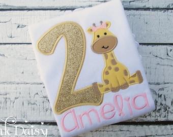 Birthday Shirt. Pink and Gold Giraffe Birthday Shirt. Safari, Jungle, Zoo Birthday Party.