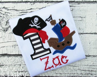 Boys Pirate Ship Birthday Shirt - Pirate First Birthday - Pirates and Mermaids - Twins Birthday - Ocean - Personalized Applique Shirt - Ahoy