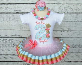 Tea For TWO Birthday Outfit - Second Birthday - Tea Party - Ribbon Tutu Set - Blue Coral Gold Pink - Floral - Flowers - Roses - ONEderland