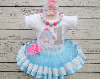 Cinderella Birthday Outfit - Pink Blue Silver - Royal Princess Tutu Outfit - Carriage - Pumpkin Coach - Ribbon Trimmed Tutu - First Birthday