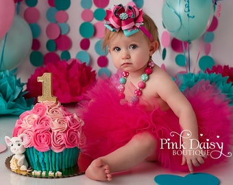 Cake Smash Tutu Set - Pink Aqua Teal - Cake Smash Outfit - Tutu and Accessories - Stacked Boutique Bow - Chunky Necklace - Birthday Outfit