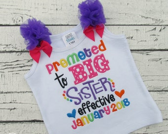 Promoted to Big Sister Shirt - Pregnancy Announcement - Promotion - Tank Top -  Bubble Romper - Rainbow - Sibling Shirt - Expecting New Baby