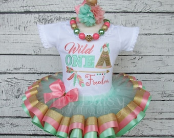 Wild ONE Birthday Outfit - First Birthday Tutu - Mint Green Coral Gold - Teepee - Feather - Arrow - Wild Thing - Tribal - Boho - Ribbon Tutu
