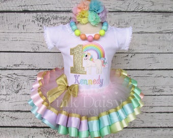 Gold Unicorn Birthday Outfit - Pastel Rainbow Unicorn Tutu Set - Pastel Unicorn - Ribbon Tutu Outfit - First Birthday Dress - Unicorn Outfit