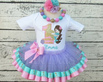 Ribbon Trimmed Mermaid Birthday 1-9 Yrs Applique Outfit