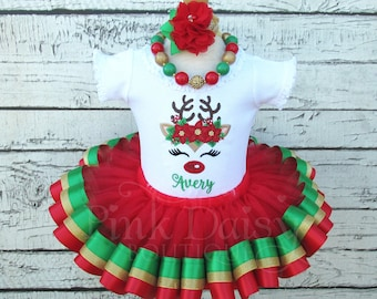 Christmas Tutu Costume Red and Green Tutu Holiday Outfit Fancy Baby Sparkly Bows and Mistletoe Ribbon Tutu Set First Holiday