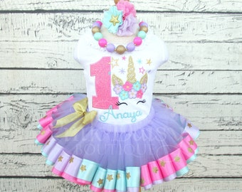 Unicorn Birthday Outfit - Unicorn Face - Stars - Lavender Pink Aqua Gold - Floral Crown - Flower - Horn - Ribbon Tutu - First Birthday Dress