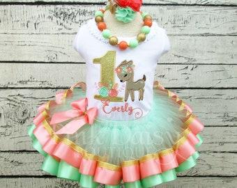 Baby Deer Woodland Fawn Birthday Tutu Outfit Personalized Pink Mint Aqua Wild ONE Ribbon Trim Tutu Set First Birthday Dress